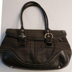 Coach Brown Handbag Trimmed In Black Leather